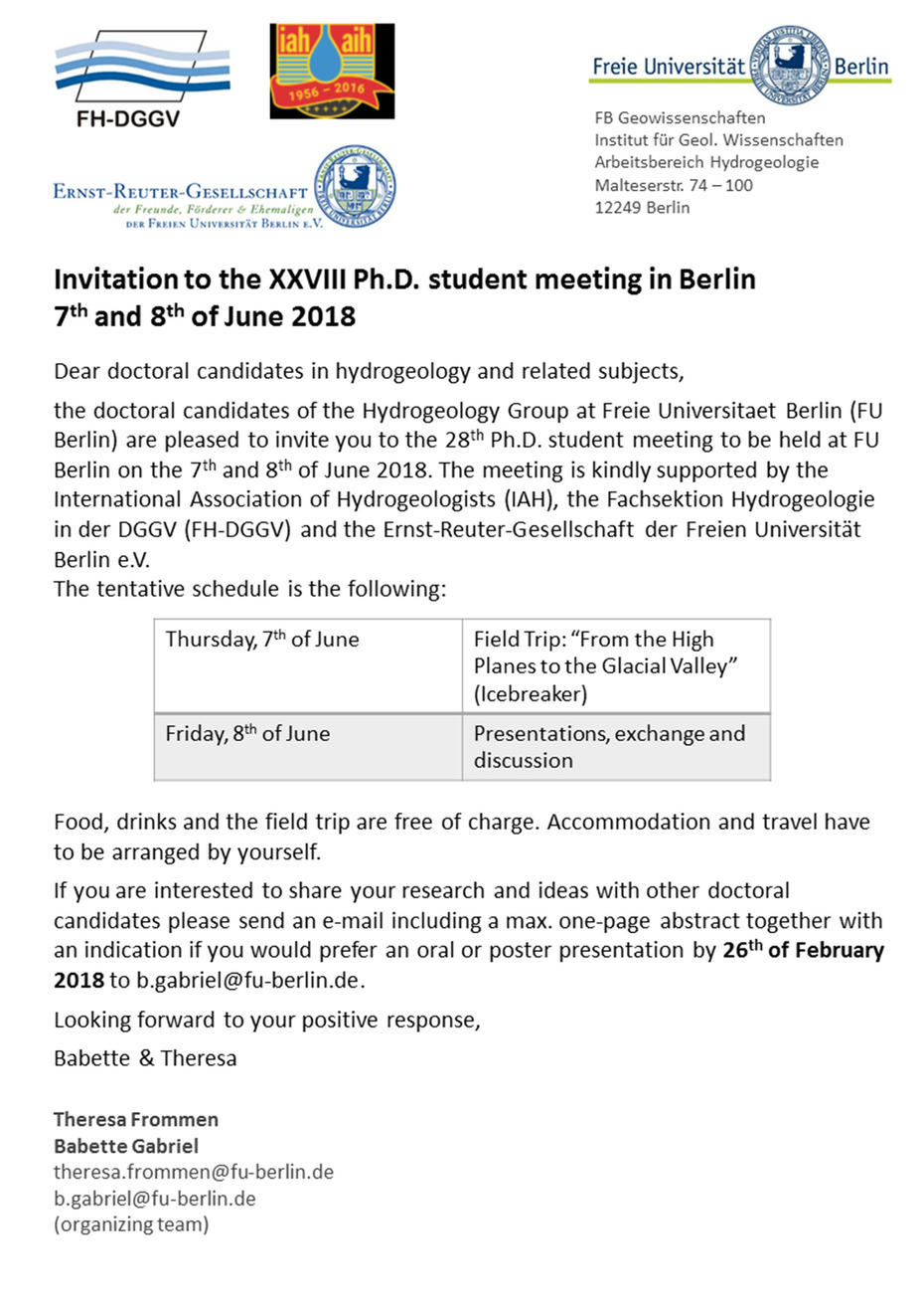 Invitation To The Xxviii Ph D Student Meeting In Berlin 7th And
