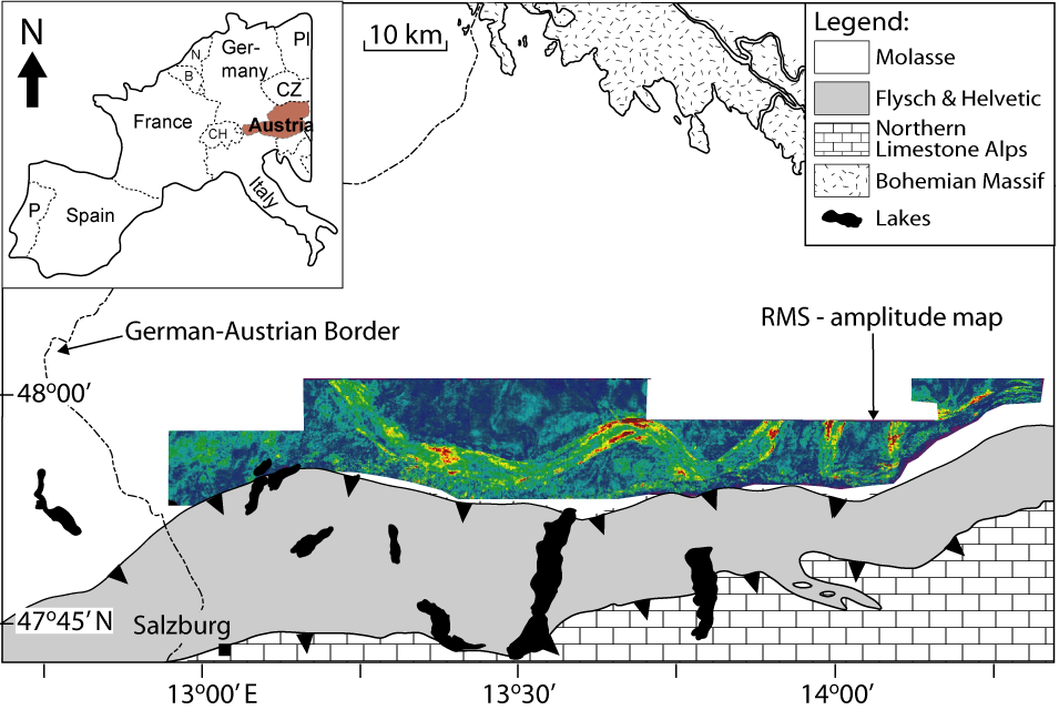 Outline of the Austrian Molasse study site including three-dimensional seismic-reflection data and sediment core provided by the Rohölaufsuchungs AG in Vienna.
