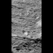 Cratered landscape on Rhea
