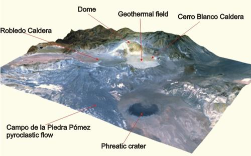 ASTER image combined with 3D elevation model of Cerro Blanco Caldera Complex, Argentina