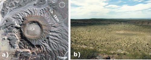 a) Satellite image  of the ring tuff, Cerro Solo Maar, Neuquen, Argentina. b) General view of the same ring tuff.