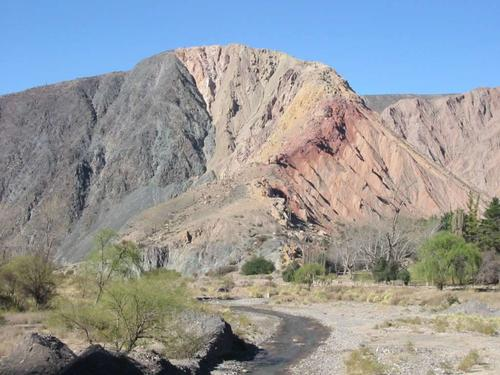 Precambrian - Paleozoic basement (dark colour, left) and Cretaceous - Tertiary rocks (brown colour) in tectonic contact through a reverse fault. Quebrada de El Toro, Andes, Argentina
