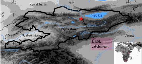 Location of the Ükök catchment in the boundaries of Kyrgyzstan (DEM: GTOPO30, 1x1 km)