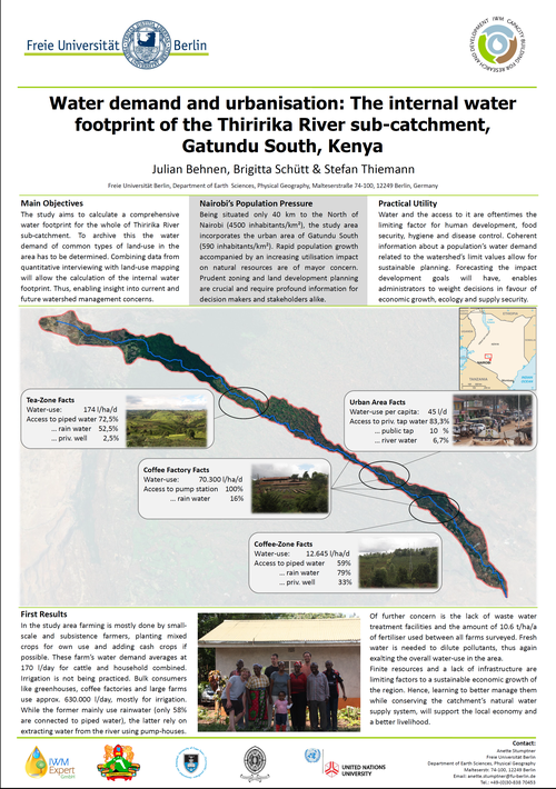 Julian Behnen (2014): Water demand and urbanisation: The internal water footprint of the Thiririka River sub-catchment, Kenya