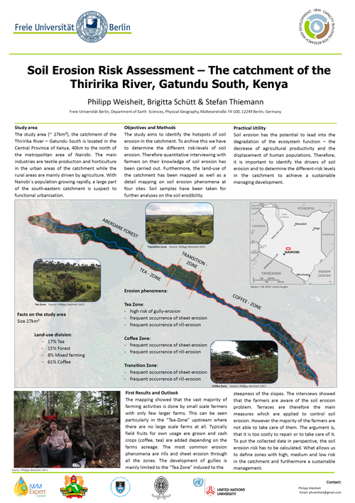Philipp Weisheit (2014): Soil erosion risk assessment - the catchment of the Thiririka river, Gatundu South, Kenya