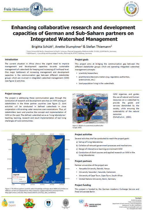 Brigitta Schütt, Anette Stumptner, Stefan Thiemann (2012): Project concept 'Integrated Watershed Management Research and Development Capacity Building'