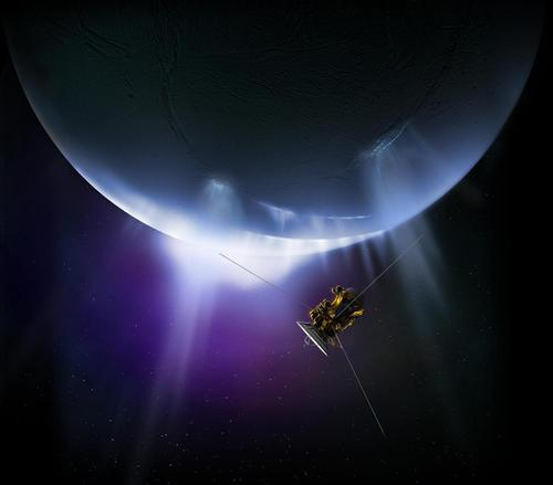 Artist's impression of the Cassini spacecraft flying by Enceladus and its water/ice vapor plume. Potential biomolecules in emitted ice grains could be detected on Enceladus and other ocean worlds.