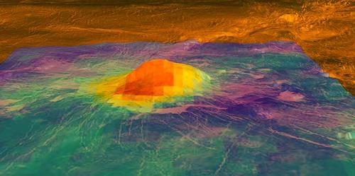 Heat patterns on volcano Idunn Mons on Venus