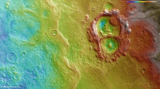 Hellas color coded digital terrain model