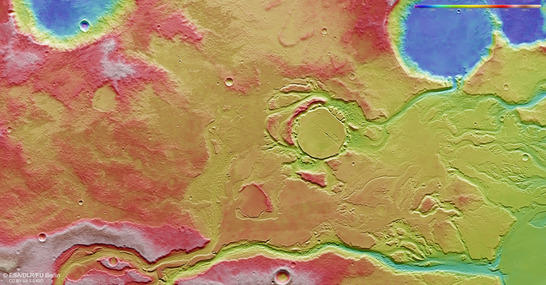 Minio Vallis color coded digital terrain model