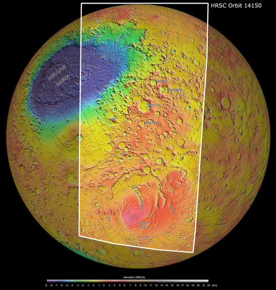 South Pole color coded digital terrain model