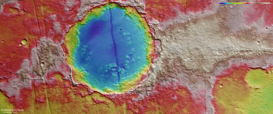 Memnonia Fossae color coded digital terrain model