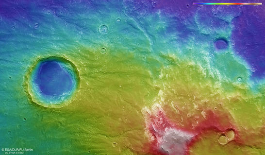 Coracis Fossae color coded digital terrain model