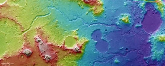 Libya Montes color coded digital terrain model