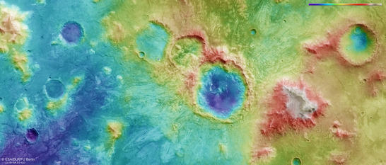 North of Hellas color coded digital terrain model