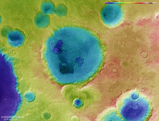 Neukum Crater color coded digital terrain model